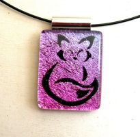 Calligraphy Fox Fused Glass Pendant Magenta by FusedElegance