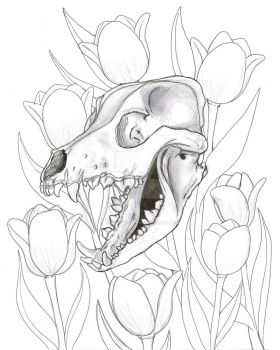 Dog Skull and Tulips