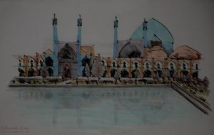 Drawing - Shah Mosque by LonelyBard