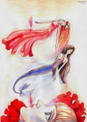 Red petals and a witness by Kumin