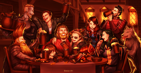 Commission - Tavern Party by Bambz-Art