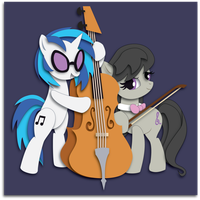 Shadowbox Mock-up:  Vinyl Scratch and Octavia by The-Paper-Pony