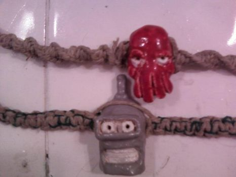 Bender and zoidberg necklaces by theamazingxtina