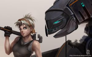 Mech and Girl Detail by transfuse