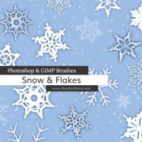 Snow + Snowflakes Photoshop and GIMP Brushes by redheadstock
