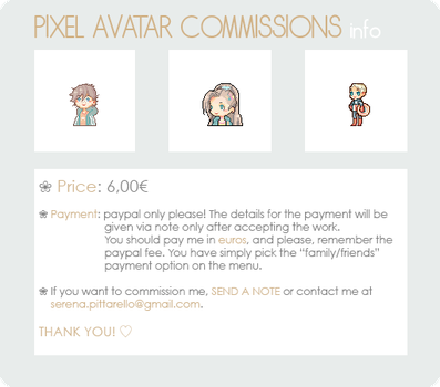 [OPEN] Pixel avatar commissions info by watermonsterrr