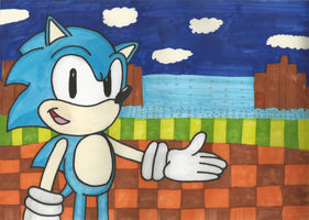 Classic Sonic in Green Hill Zone! by HedgeCatDragonix