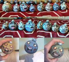 Monster and zombie Christmas Ornaments by asconch