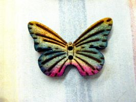 Rainbow Butterfly Button by Ideas-in-the-sky