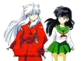 InuYasha and Kagome by OneColoredLily