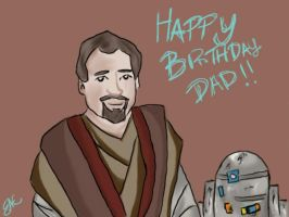 dad's finished birthday card by pascalscribbles