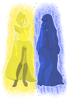 Yellow and Blue Diamond by FoxgloveAndPen