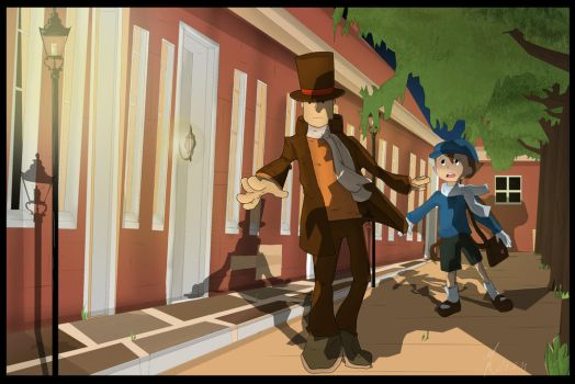 Layton: Watch out Luke by TheDragonCat