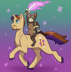 Cat Riding a Unicorn by kaciekk