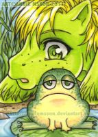 ACEO Baby Leaper and the Frog by AnnieMsson