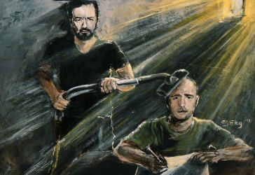 Ricky Gervais and Karl Pilkington by DoodleWithGlueGun