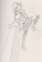steampunk girl sword pose practice by G4MM43T4