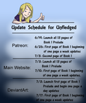 Unfledged Launch Schedule by curiousdoodler