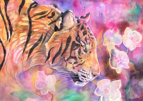 Tiger with White Orchid by dawndelver