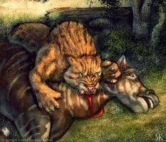 Smilodon Meal by TheDragonofDoom