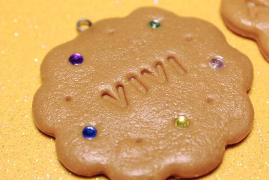 Custom cookie with name #polymerclay by vivialcalde