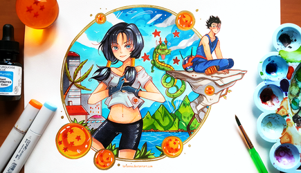 Videl and Gohan by larienne