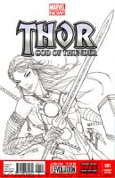 Thor Girl Sketch Cover Commission by jamietyndall