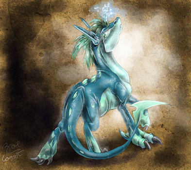 Colored Sketch CM: Glacier Aura ~Wielder of Ice~ by EternalDragoness