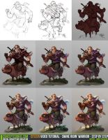 Tutorial Step by Step: Swine Ridin' Warrior by CGCookie