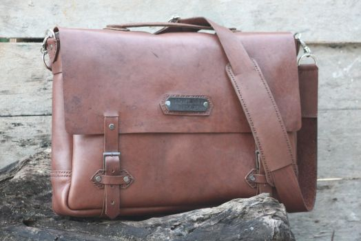 Handmade Leather Messenger Bag by justanothergallery