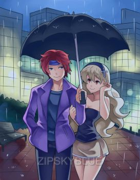 COMMISH:WALKING IN THE RAIN by zipskyblue