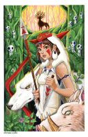 Princess Mononoke in the Forest by ChrissieZullo