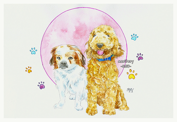 :: Dogs in watercolors :: Gift by maritery-san