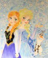 Frozen's Anna Elsa and Olaf, Magic Winter. by ElisabettaGuarino