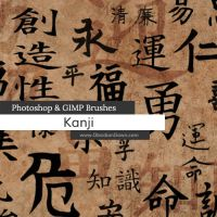 Kanji Photoshop and GIMP Brushes by redheadstock