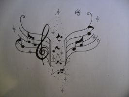 music notes tattoo design by tattoosuzette