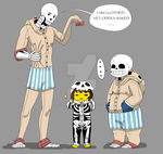 Skelebros and Frisk In onesies.