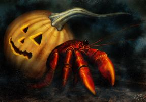 Hermit Crab in Pumpkin by hwango