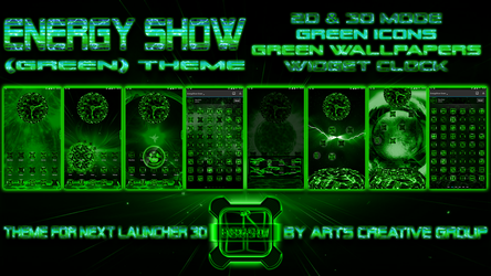 Next Launcher Theme Energy Show Green by ArtsCreativeGroup