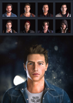 Combined faces of male game characters by Taitiii