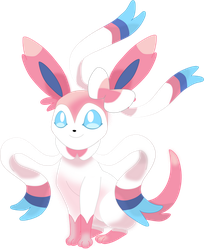 Sylveon, sitting pose. by Flutterflyraptor