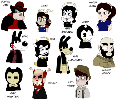 Bendy Characters- Random Facial Expressions by Gamerboy123456