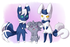 PKMN- Meowstic, Espurr by Quarbie