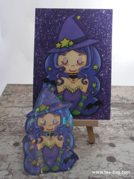 Little Witch Print + Sparkle Sticker by keh-arts