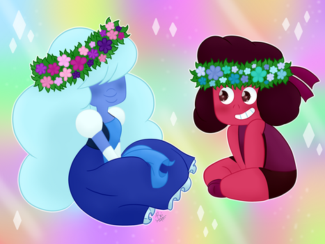 Ruby And Sapphire by untamedxleprechaun