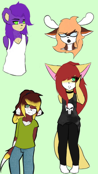 Flat colored doodles~! by Kaiister323