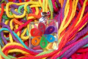 Quilled Rainbow Flower Charm by OcularFracture