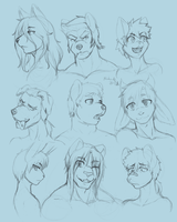 -Sketch- Faces by Nukude