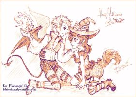 Sketch commission : Halloween lovers by bibi-chan