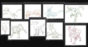 Eeveelutions WIP by WraithWolves